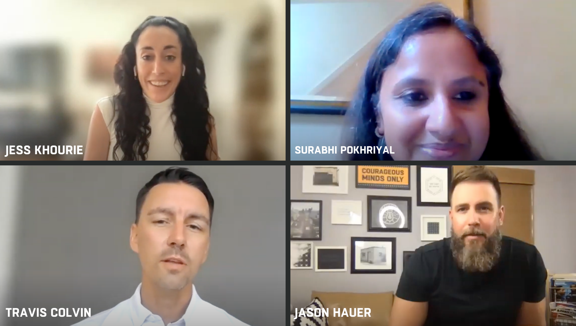 4 person frame: from top left Jess Khourie, Surabhi Pokhriyal, Travis Colvin, & Jason Hauer